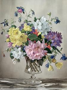 Rhododendrons, Azaleas and Columbine in a Glass Vase by Albert Williams