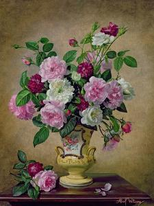 Roses and Dahlias in a Ceramic Vase by Albert Williams