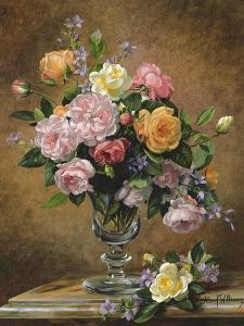 Roses in a glass vase by Albert Williams