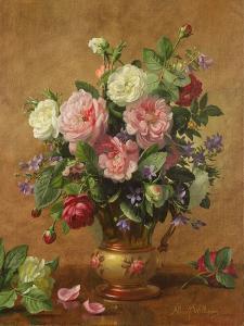 Roses in a Rose-Enamelled Vase, 1995 by Albert Williams