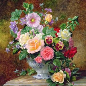 Roses, Pansies and Other Flowers in a Vase by Albert Williams