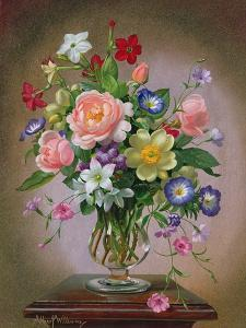 Roses, Peonies and Freesias in a Glass Vase by Albert Williams