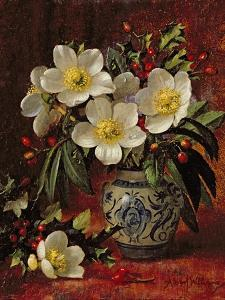 Still Life of Christmas Roses and Holly by Albert Williams