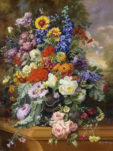 Still Life with Roses, Delphiniums, Poppies, and Marigolds on a Ledge by Albert Williams