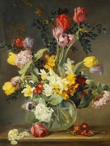 Tulips in a Glass Vase by Albert Williams