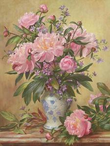 Vase of Peonies and Canterbury Bells by Albert Williams