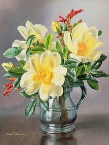 Yellow Roses in a Tankard by Albert Williams