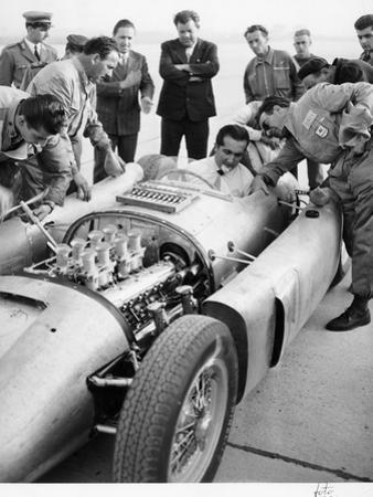 Alberto Ascari at the Wheel of the New Lancia Grand Prix Car, 1955