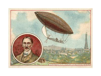 Alberto Santos-Dumont's Airship Flying around the Eiffel Tower, Paris, 19 October 1901--Giclee Print