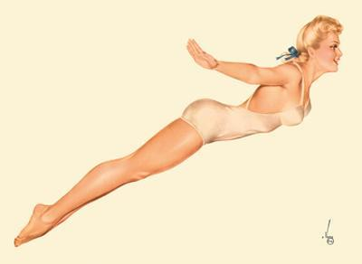 Miss August Bathing Suit Girl - I'm Going To Join The Navy by Alberto Vargas
