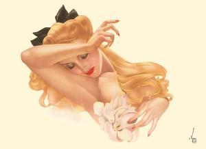 Miss December - Blonde Beauty with Magnolia Flower by Alberto Vargas