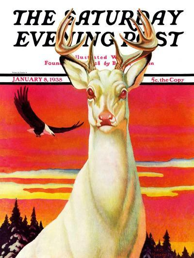 """Albino Deer,"" Saturday Evening Post Cover, January 8, 1938-Jack Murray-Giclee Print"