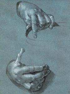 Hands, Two Studies, Chalk Drawing on Blue Paper by Albrecht D?rer