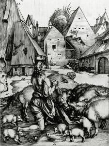 The Prodigal Son, 1496 (Engraving) by Albrecht D?rer