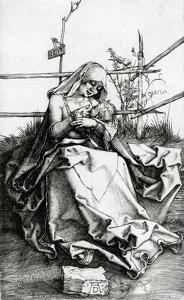 Virgin and Child Seated on a Grass Bench, 1503 (Engraving) by Albrecht D?rer
