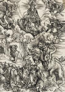 Apocalypse selon Saint Jean - Le monstre de sept têtes et la bête à cornes by Albrecht Dürer