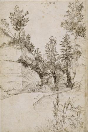 Paysage ; route bordée de rochers abrupts et d'arbres près de Nuremberg