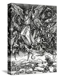 St. Michael Fighting the Dragon, 1498 (Woodcut) by Albrecht Dürer