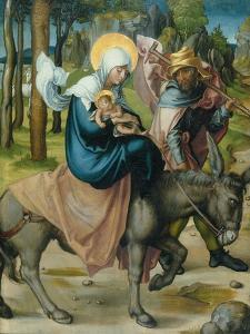 "The Flight to Egypt, from the Altar: ""The Virgin's Seven Agonies"", 1495-96 by Albrecht Dürer"