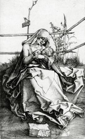Virgin and Child Seated on a Grass Bench, 1503 (Engraving)