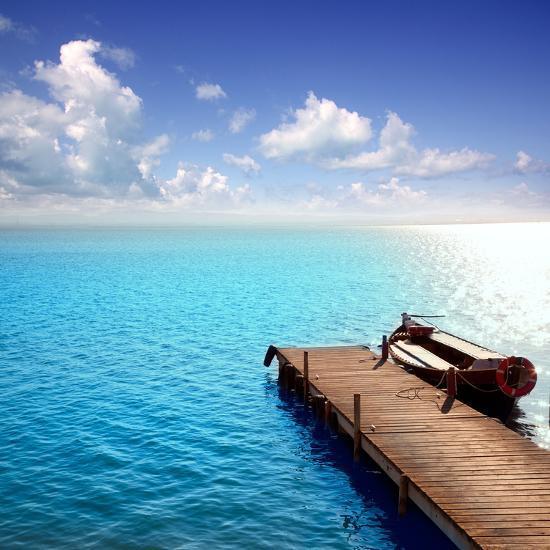 Albufera Blue Boats Lake in El Saler Valencia Spain- Miscellaneoustock-Photographic Print