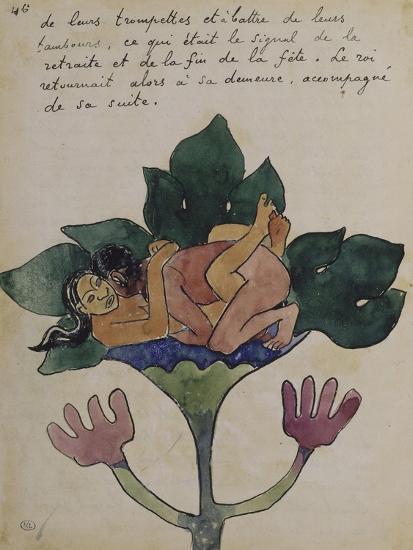 Album Ancien culte Mahori :  Un accouplement et feuille vierge avec dessin rapporté-Paul Gauguin-Giclee Print
