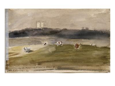 Album d'Angleterre. Paysage dans la campagne anglaise, avec vaches dans un champ. 8/9 juillet 1825-Eugene Delacroix-Giclee Print
