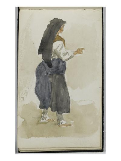 Album des Pyrénées : étude de femme Ossaloise-Eugene Delacroix-Giclee Print