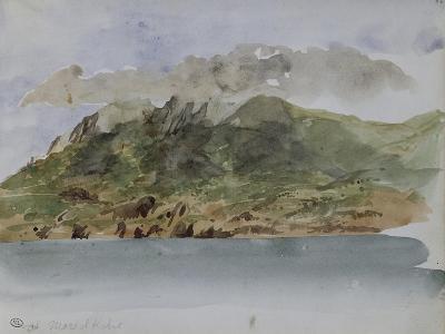 Album du voyage en Afrique du Nord : bords de mer avec la côte rocheuse et les montagnes-Eugene Delacroix-Giclee Print