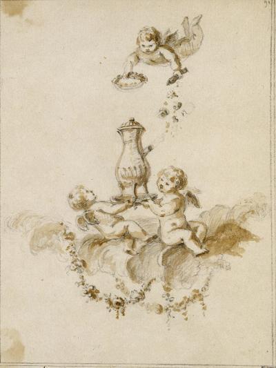 Album factice : Deux amours sur un nuage portant une chocolatière couronnée par un troisième-Charles Germain de Saint-Aubin-Giclee Print