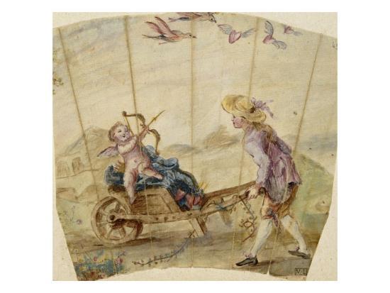 Album factice :Fragment d'éventail: jeune homme poussant une brouette où est assis un amour--Giclee Print