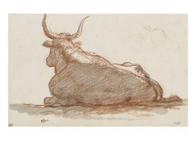 Album : un boeuf (?) couché et esquisse d'une tête de cheval-Jacques-Louis David-Giclee Print