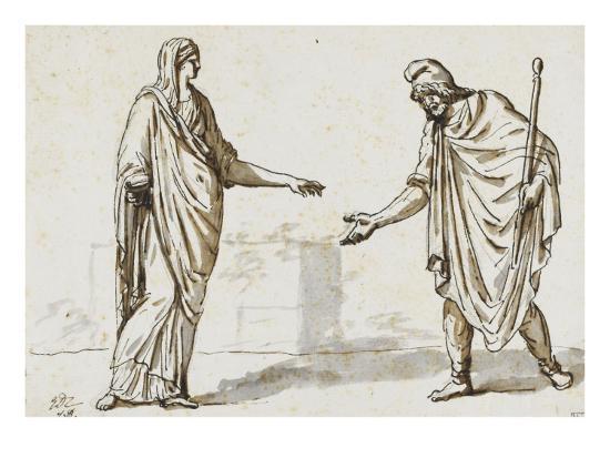 Album : une femme faisant l'aumône à un homme ; deux femmes devisant ; une femme assise-Jacques-Louis David-Giclee Print