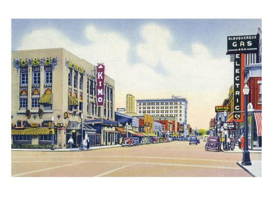 Albuquerque, New Mexico - Eastern View Up Central Avenue-Lantern Press-Art Print