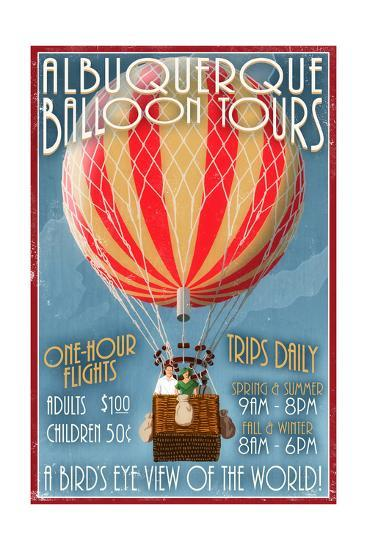 Albuquerque, New Mexico - Hot Air Balloon Tours - Vintage Sign-Lantern Press-Art Print