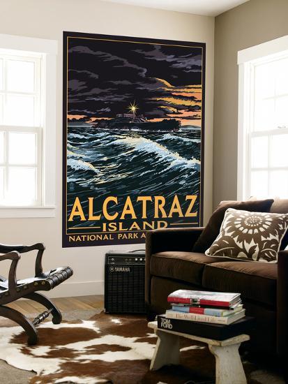 Alcatraz Island Night Scene - San Francisco, CA-Lantern Press-Wall Mural
