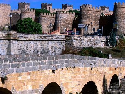 Alcazar and Stone Bridges, Avila, Spain-John Banagan-Photographic Print