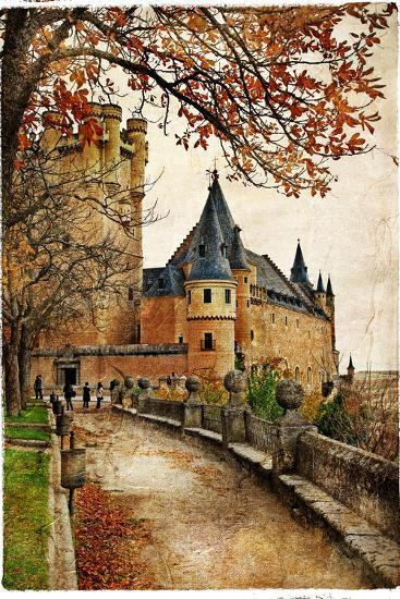 Alcazar Castle - Medieval Spain Painted Style Series-Maugli-l-Premium Giclee Print
