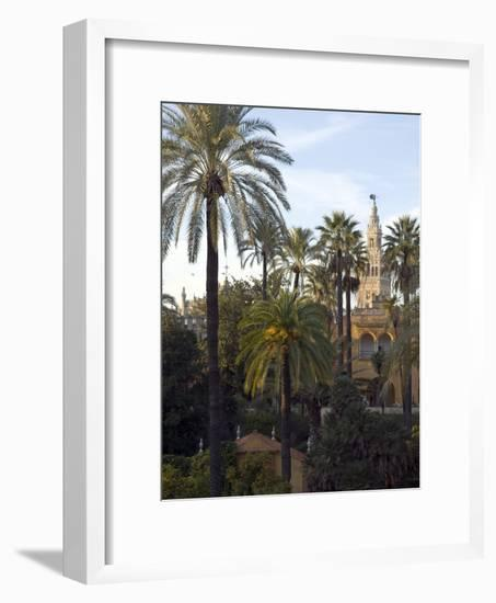 Alcazar Palace Gardens with the Giralda Tower in Background-Krista Rossow-Framed Photographic Print