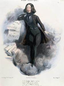 Caricature of George Sand circa 1848 by Alcide Joseph Lorentz