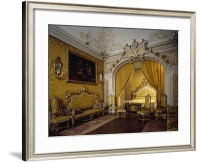 Alcove Room, with Carved and Gilded Furniture, Tapestries in Yellow Gros De Tours Damask--Framed Giclee Print