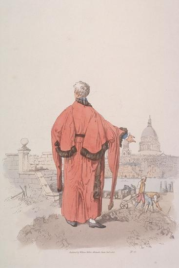 Alderman in Civic Costume Looking Towards St Paul's Cathedral, London, 1805-William Henry Pyne-Giclee Print