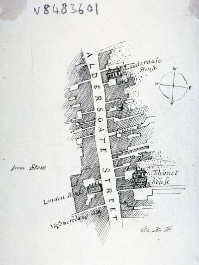 Aldersgate Street, London, C1800-Mary Anne Hedger-Giclee Print