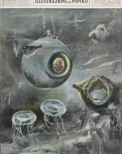 Professor Beebe in His Bathysphere 1000 Metres Below the Surface of the Atlantic Ocean by Aldo Molinari