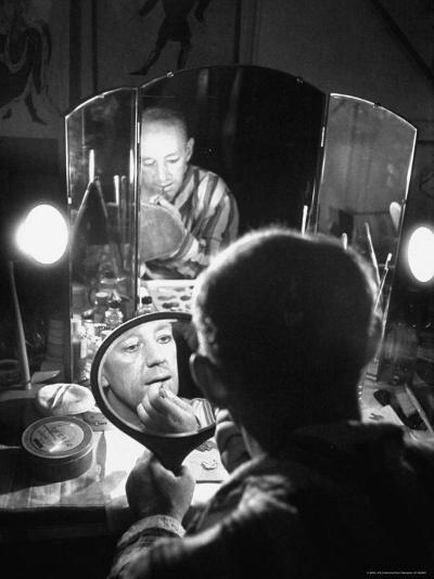 Alec Guiness Putting on His Make Up in Dressing Room at the Stratford Shakespeare Festival-Peter Stackpole-Premium Photographic Print