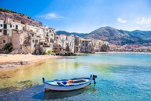 Beautiful Old Harbor with Wooden Fishing Boat in Cefalu, Sicily, Italy. by Aleksandar Todorovic