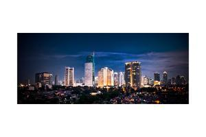 Panoramic Cityscape of Indonesia Capital City Jakarta at Night by Aleksandar Todorovic