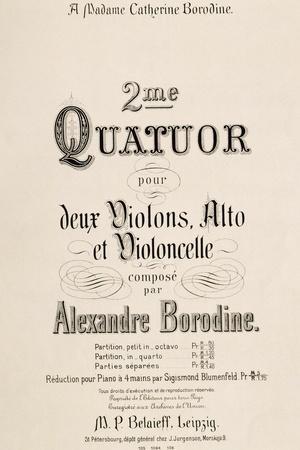 Title Page of Score for Second Quartet