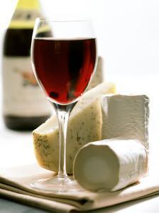 Cheese Still Life with Red Wine by Alena Hrbkova