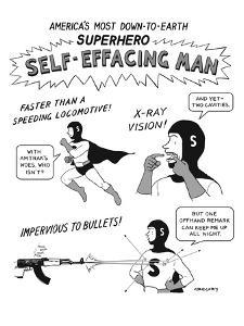 America's Most Down-to-Earth Superhero - New Yorker Cartoon by Alex Gregory
